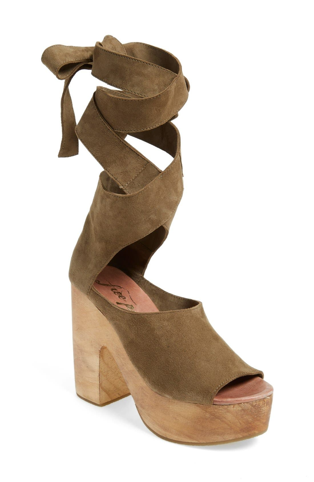 Alternate Image 1 Selected - Free People 'Touch the Sky' Wrap Platform Clog Sandal (Women)