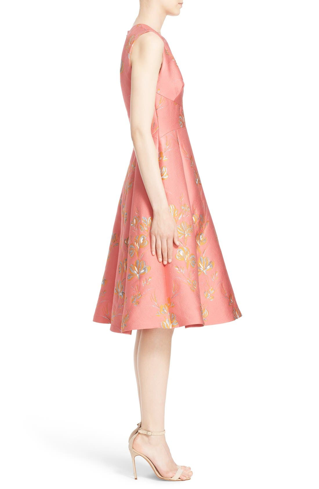 Alternate Image 5  - Lela Rose Vine Jacquard Fit & Flare Dress