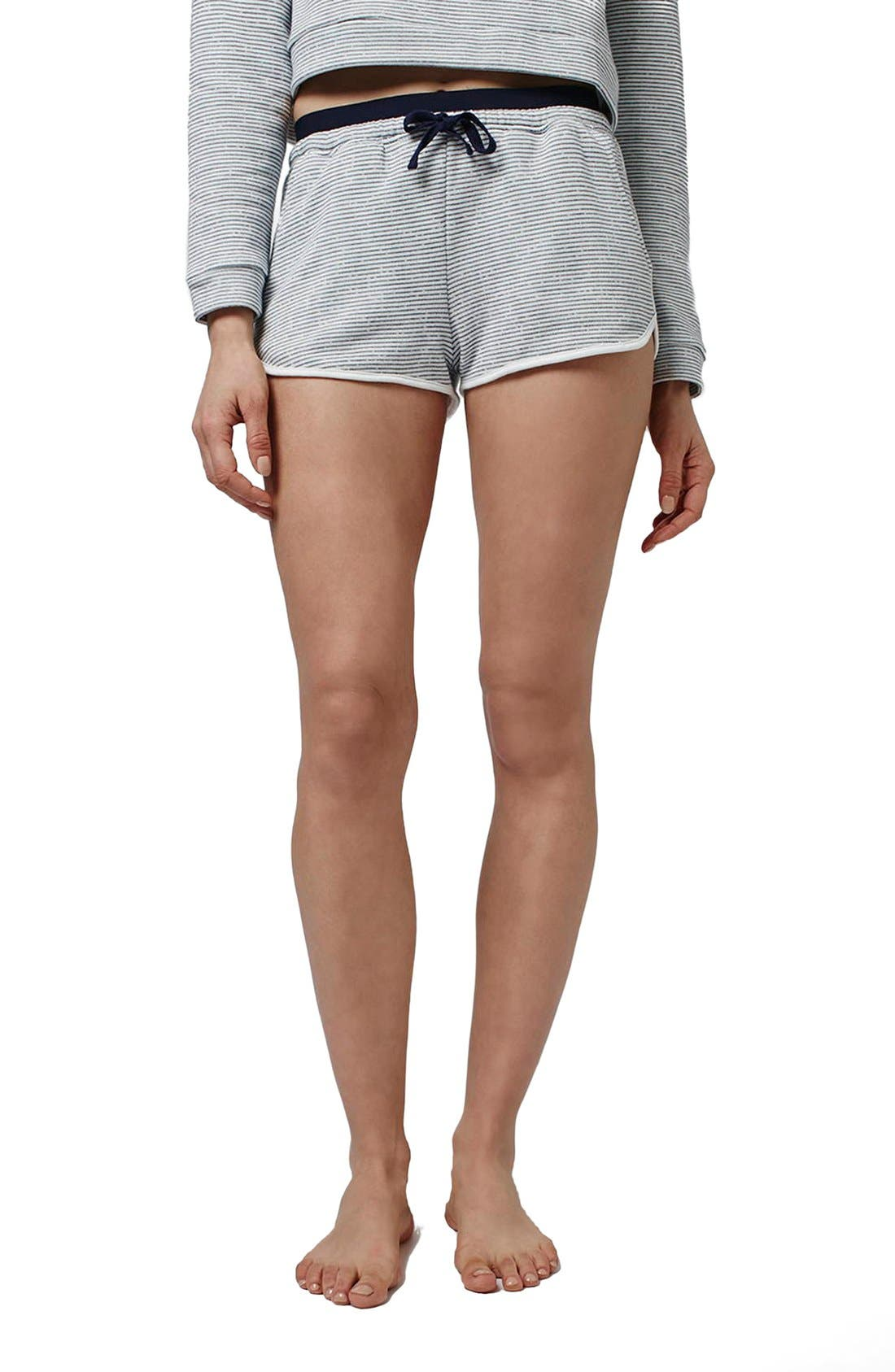 Main Image - Topshop Stripe Contrast Waist Pajama Shorts (Petite)