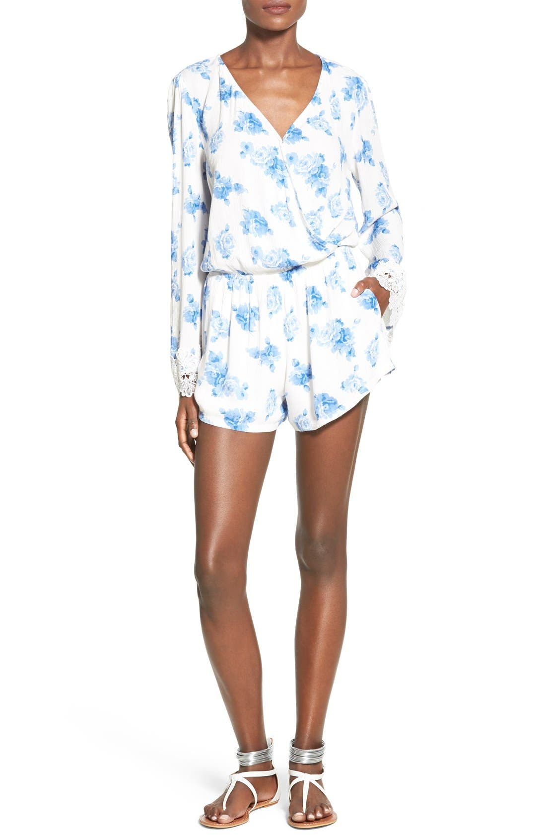 Main Image - Mimi Chica Floral Print Bell Sleeve Romper
