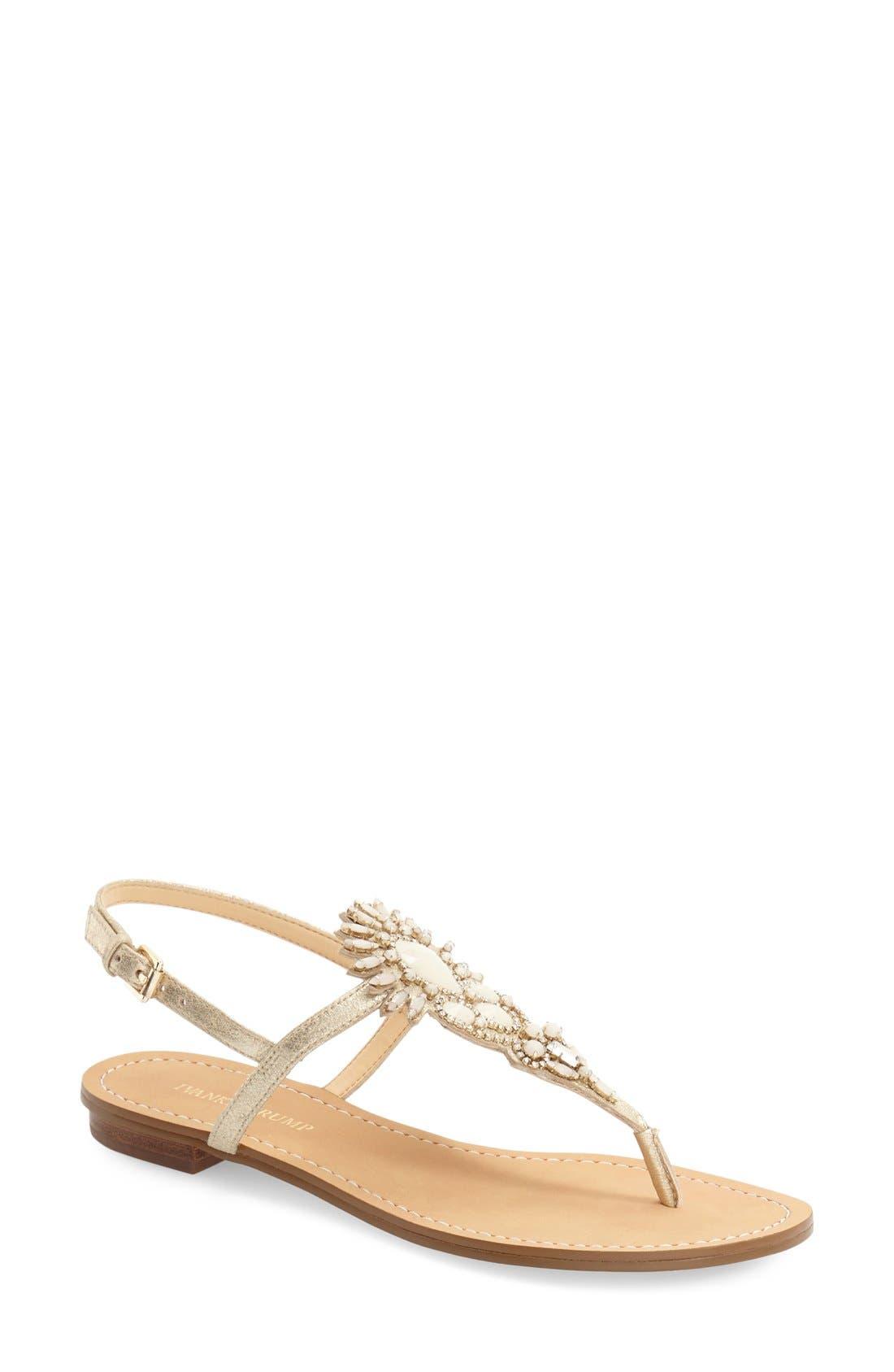 Alternate Image 1 Selected - Ivanka Trump 'Faron' Bead Embellished Flat Sandal (Women)