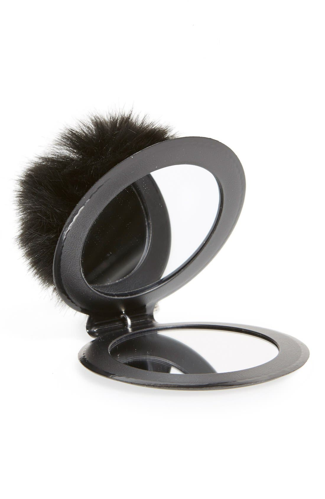 Alternate Image 2  - Topshop Faux Fluffy Pom Key Ring with Mirror