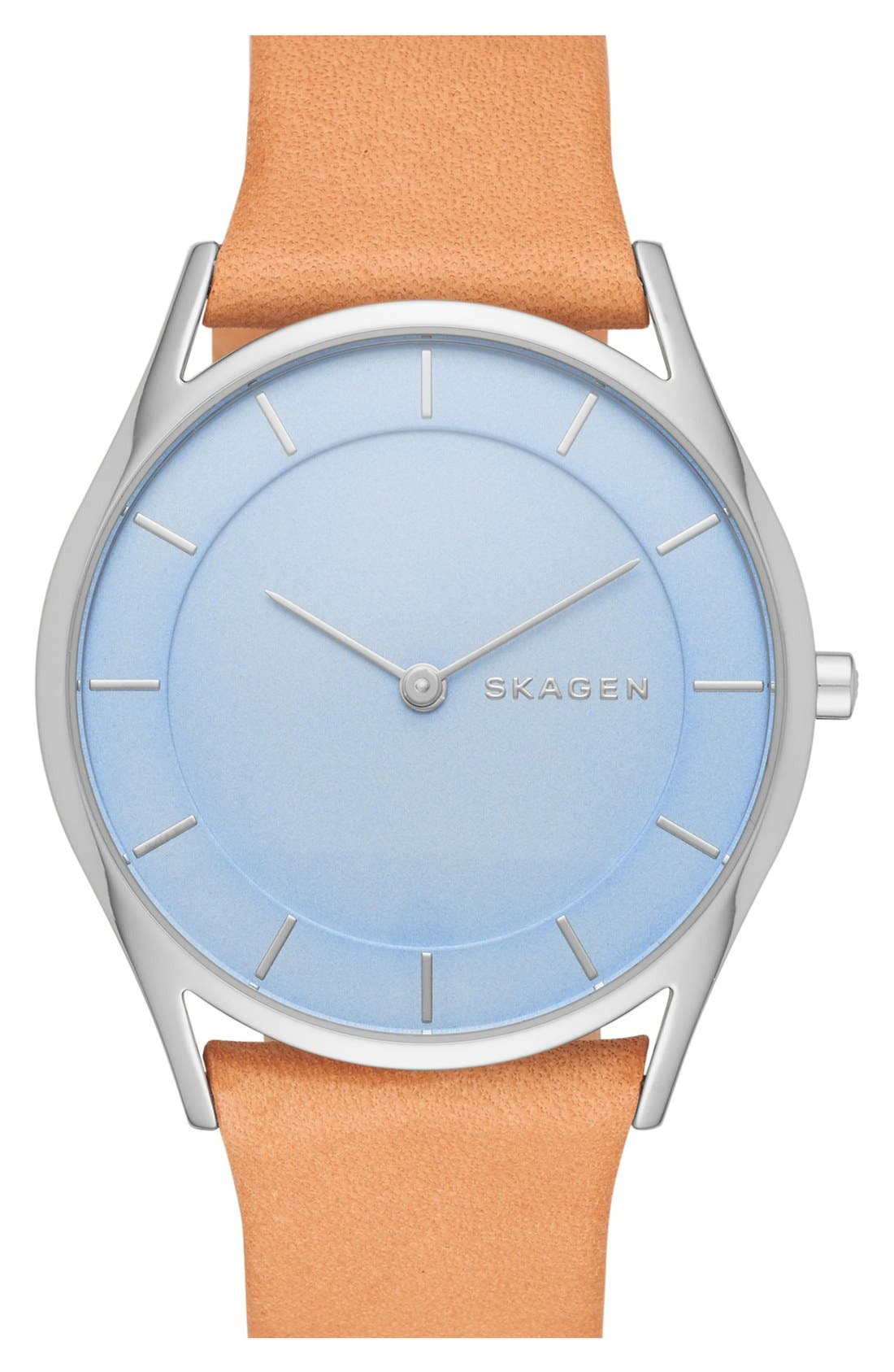 Skagen 'Holst' Leather Strap Watch, 34mm