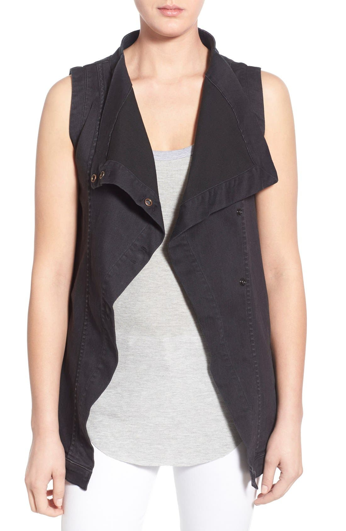 Alternate Image 1 Selected - Fine by Superfine 'Grace' Drape Front Denim Vest