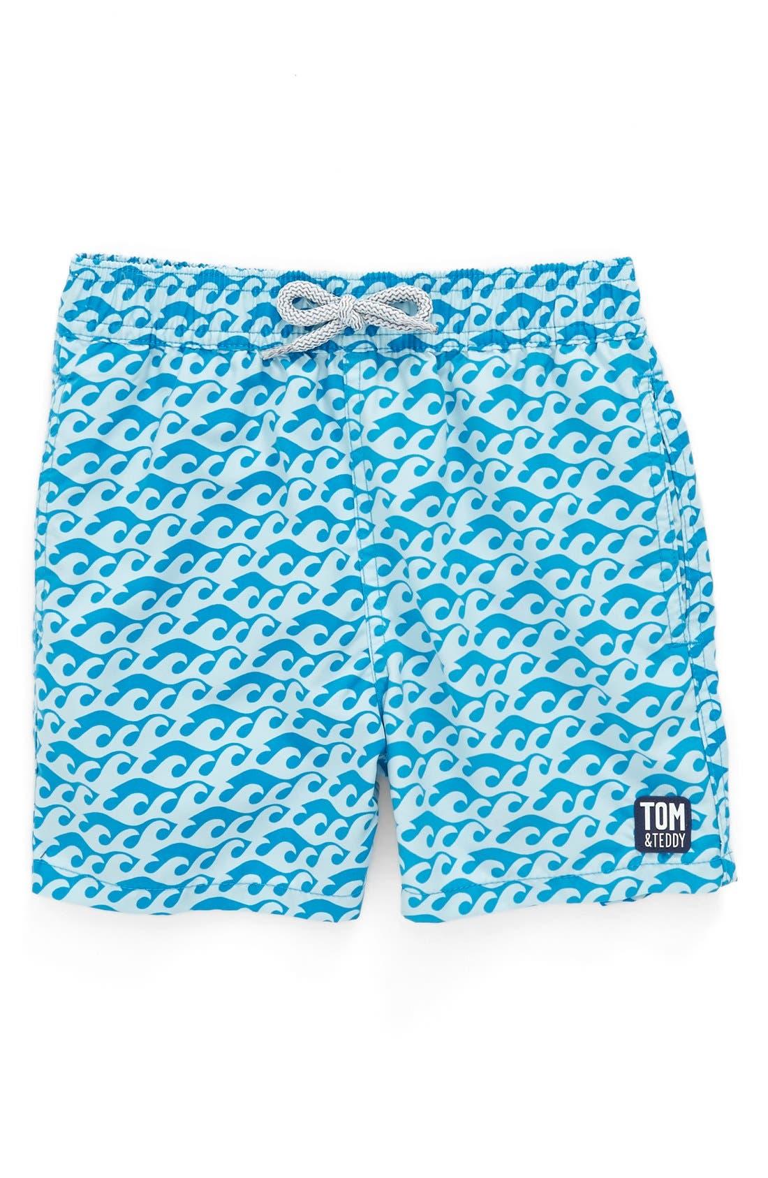 Tom & Teddy 'Pattern Waves' Swim Trunks (Toddler Boys, Little Boys & Big Boys)
