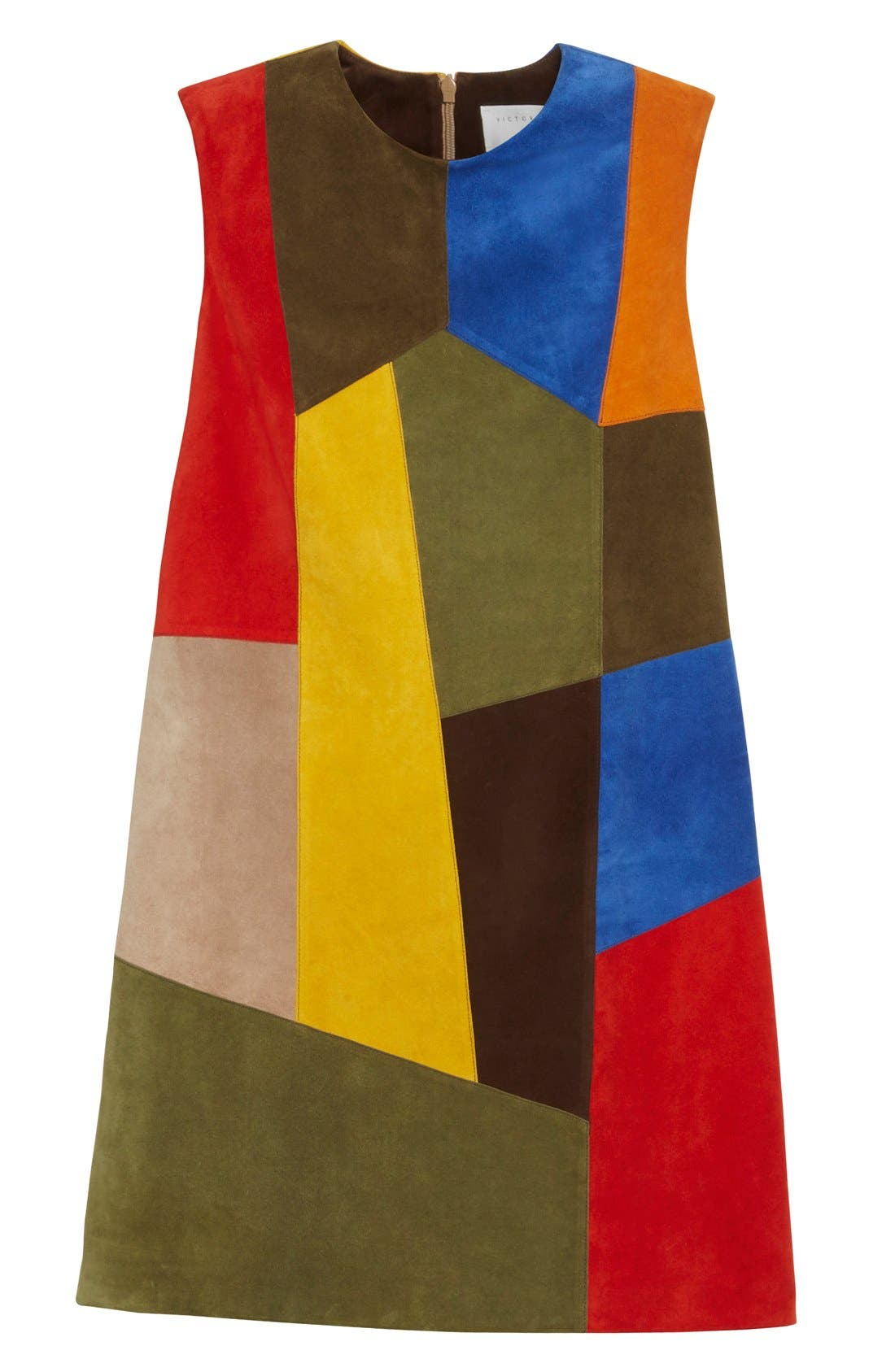 Alternate Image 4  - Victoria Beckham Patchwork Suede Shift Dress