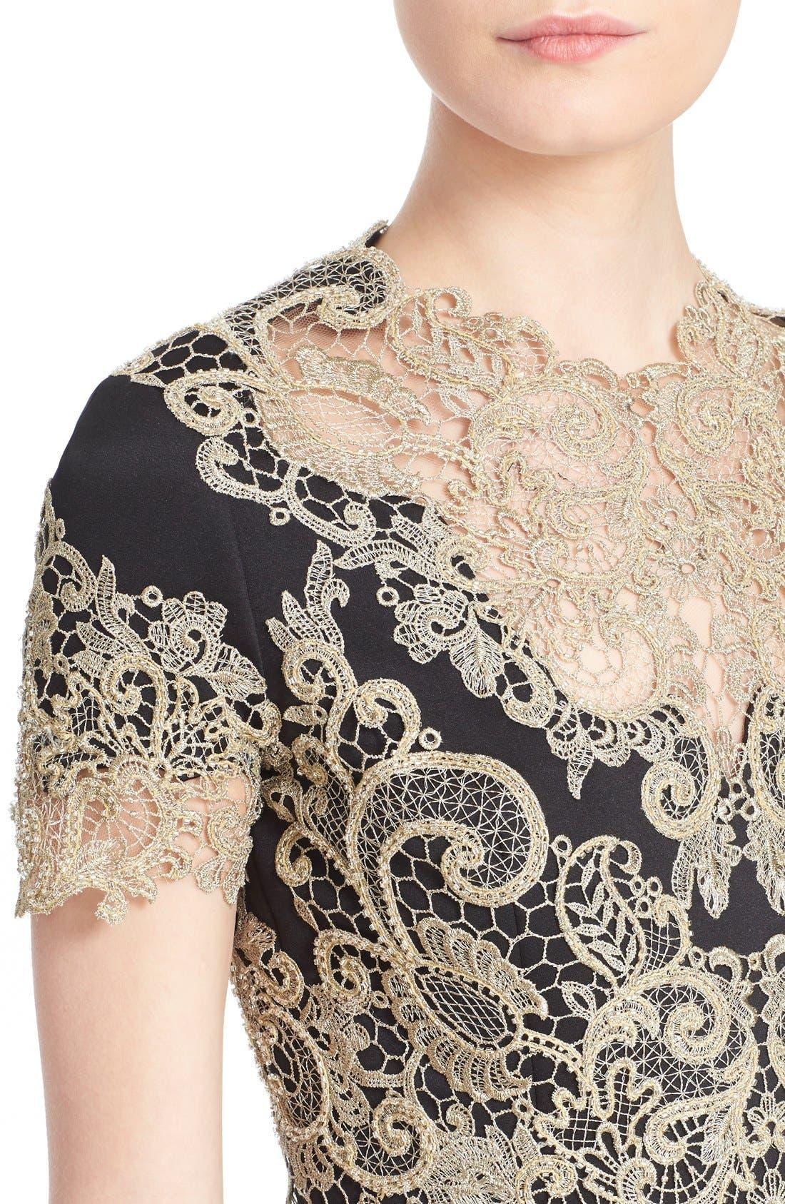 Alternate Image 5  - Marchesa Lace Appliqué Crepe Fit & Flare Dress