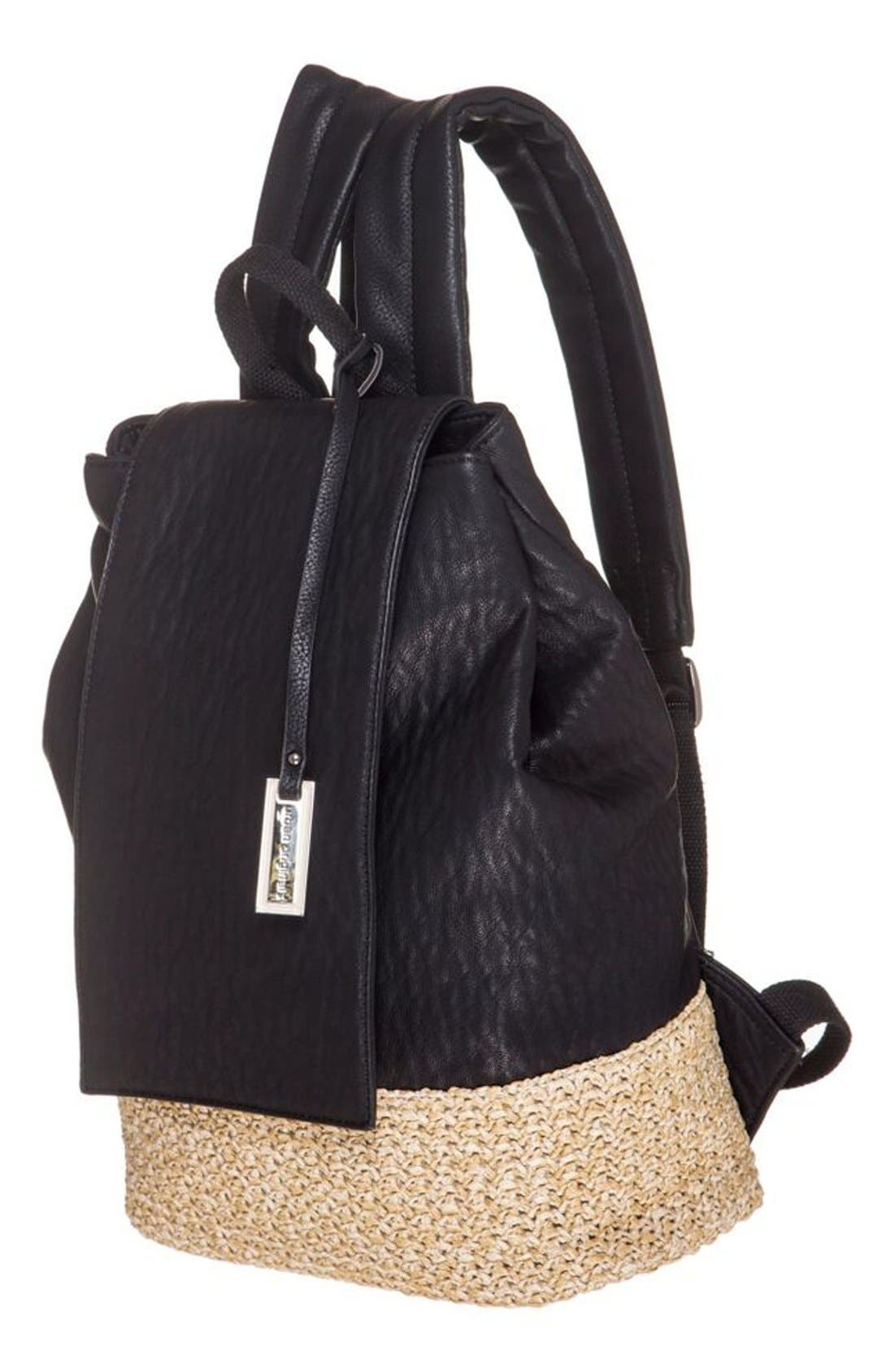 Alternate Image 2  - Urban Originals 'Dune Diamond' Faux Leather & Straw Backpack