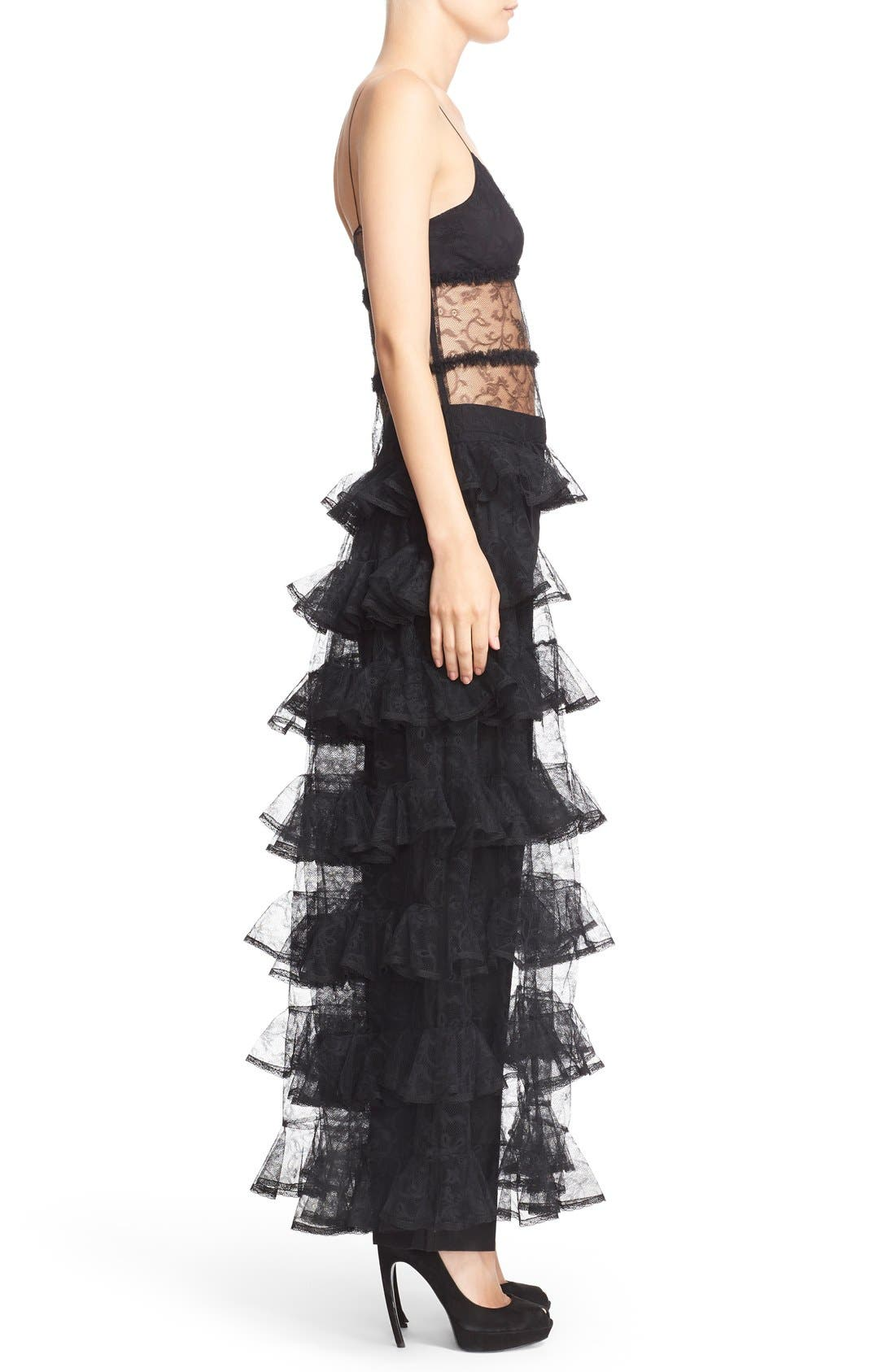 Alternate Image 4  - Alexander McQueen High/Low Dove Tulle Lace Top
