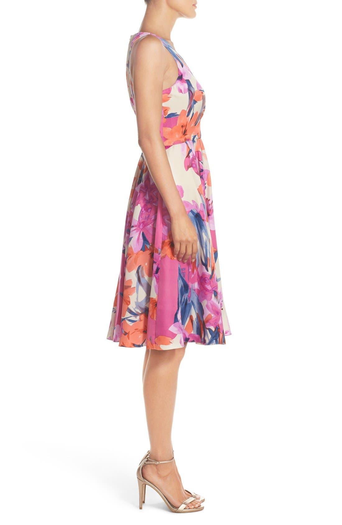 Alternate Image 3  - Donna Morgan Floral Print Woven Fit & Flare Dress