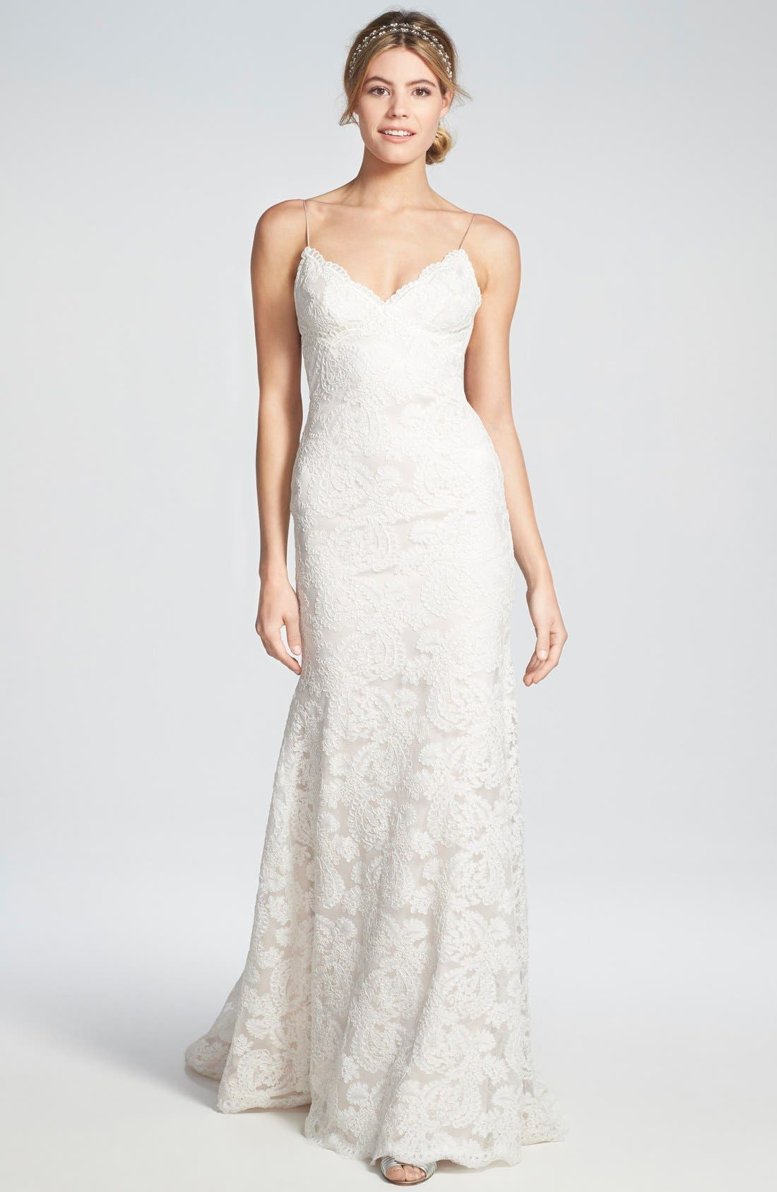 Alternate Image 1 Selected - Katie May 'Lanai' Convertible Cap Sleeve Lace Low Back Gown