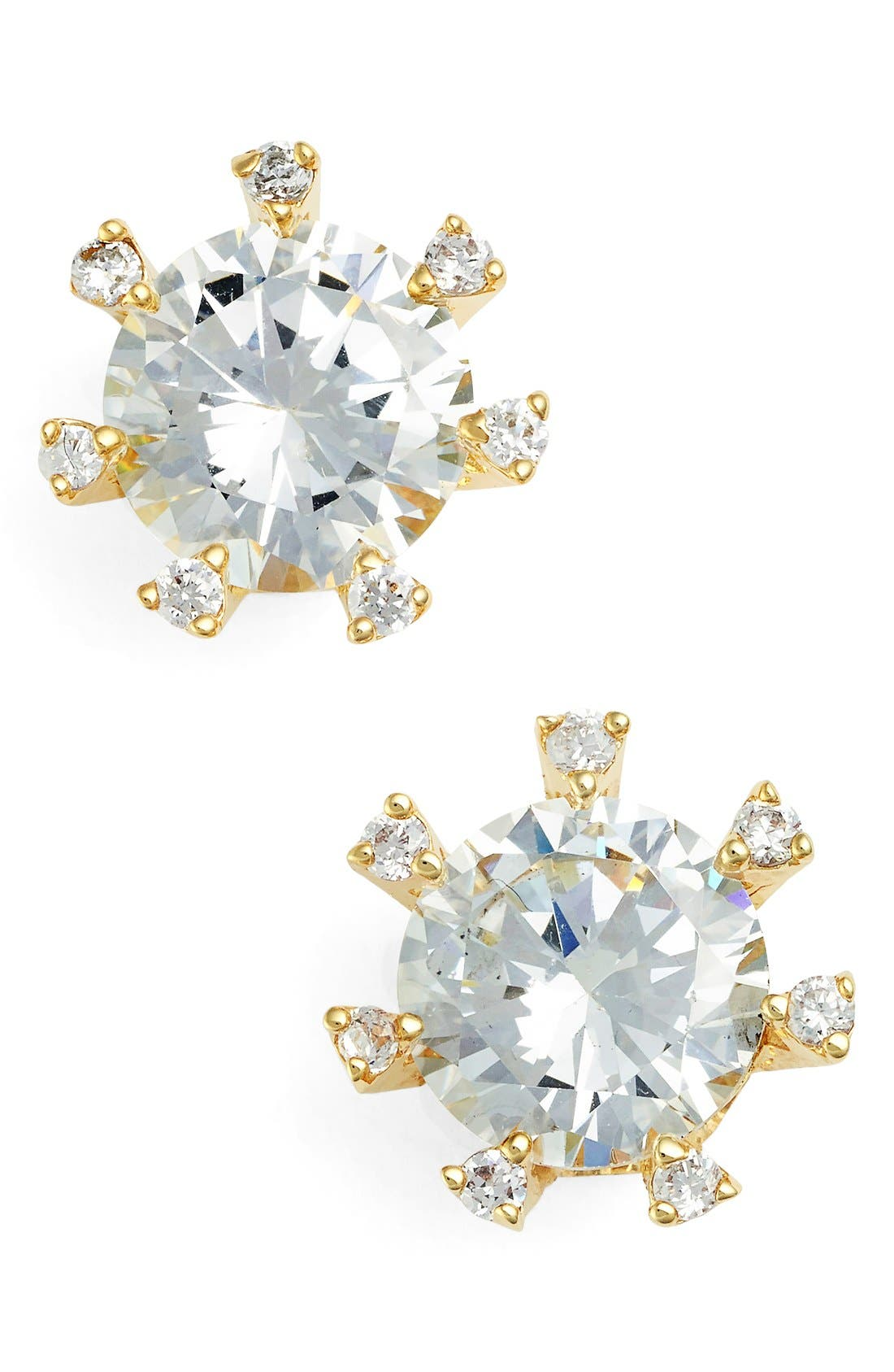 Alternate Image 1 Selected - CZ by Kenneth Jay Lane Embellished Prong Cubic Zirconia Stud Earrings