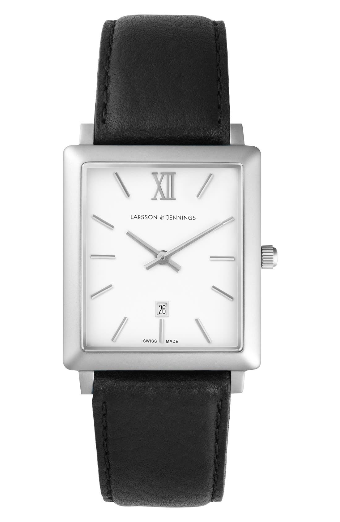 LARSSON & JENNINGS 'Norse' Rectangular Leather Strap Watch,