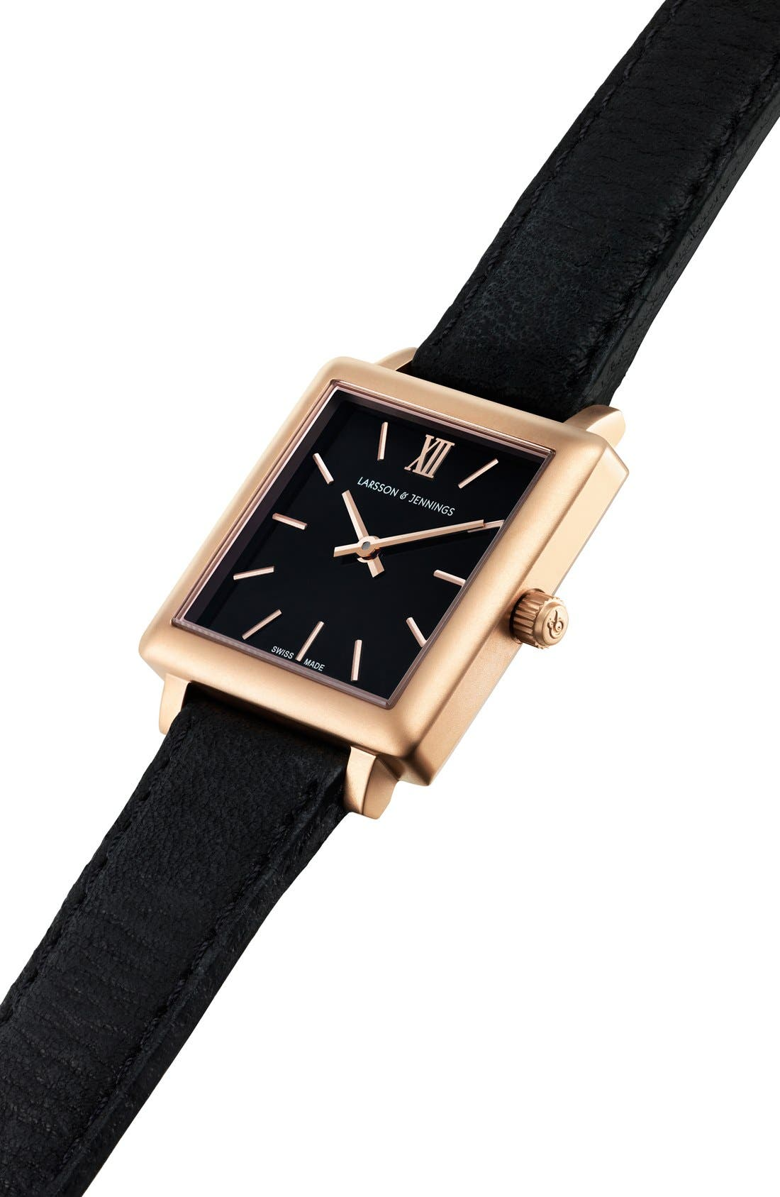 Alternate Image 3  - Larsson & Jennings 'Norse' Square Leather Strap Watch, 27mm x 34mm