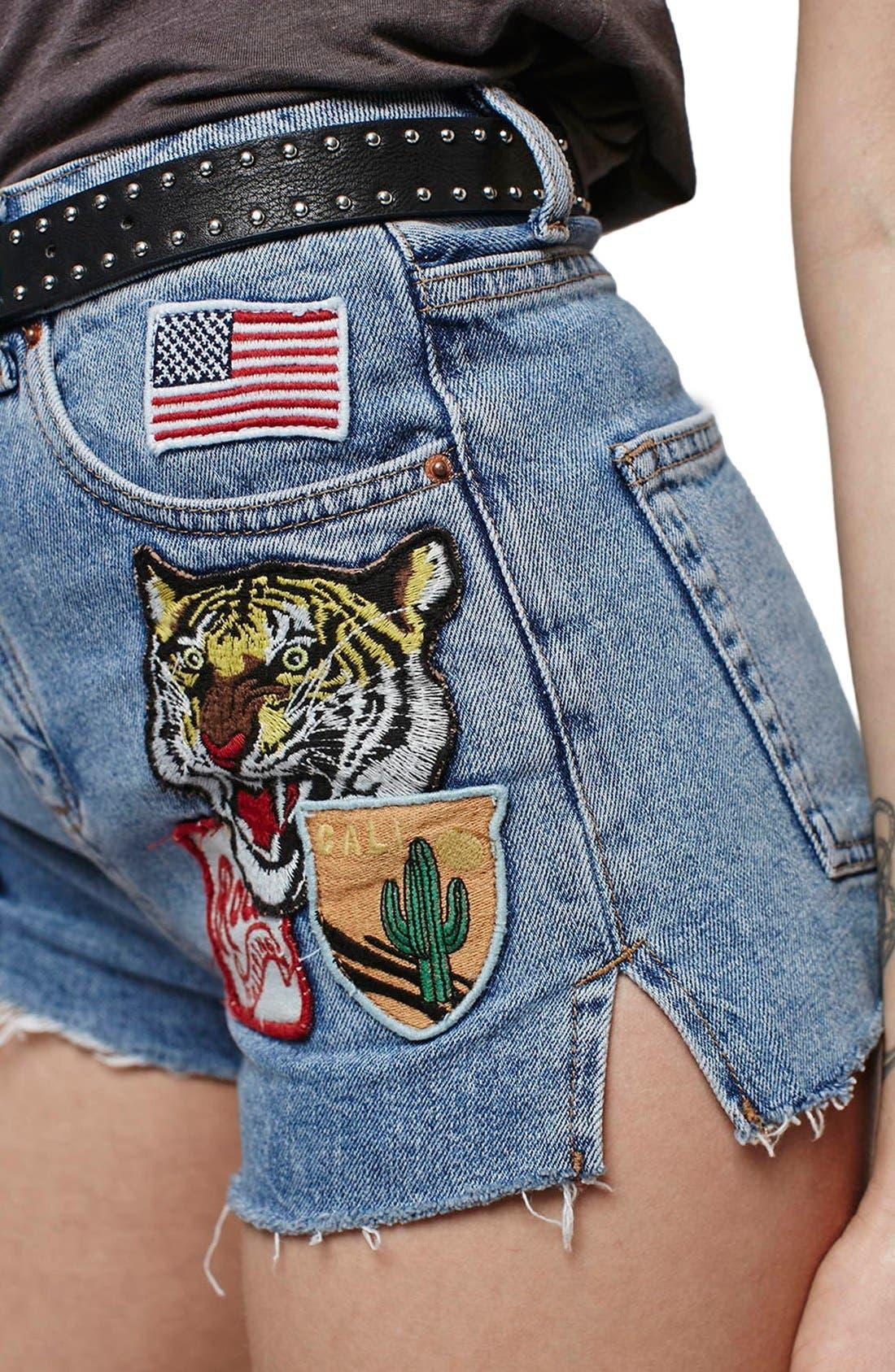 Alternate Image 5  - Topshop Moto Raw Hem Badge Mom Shorts