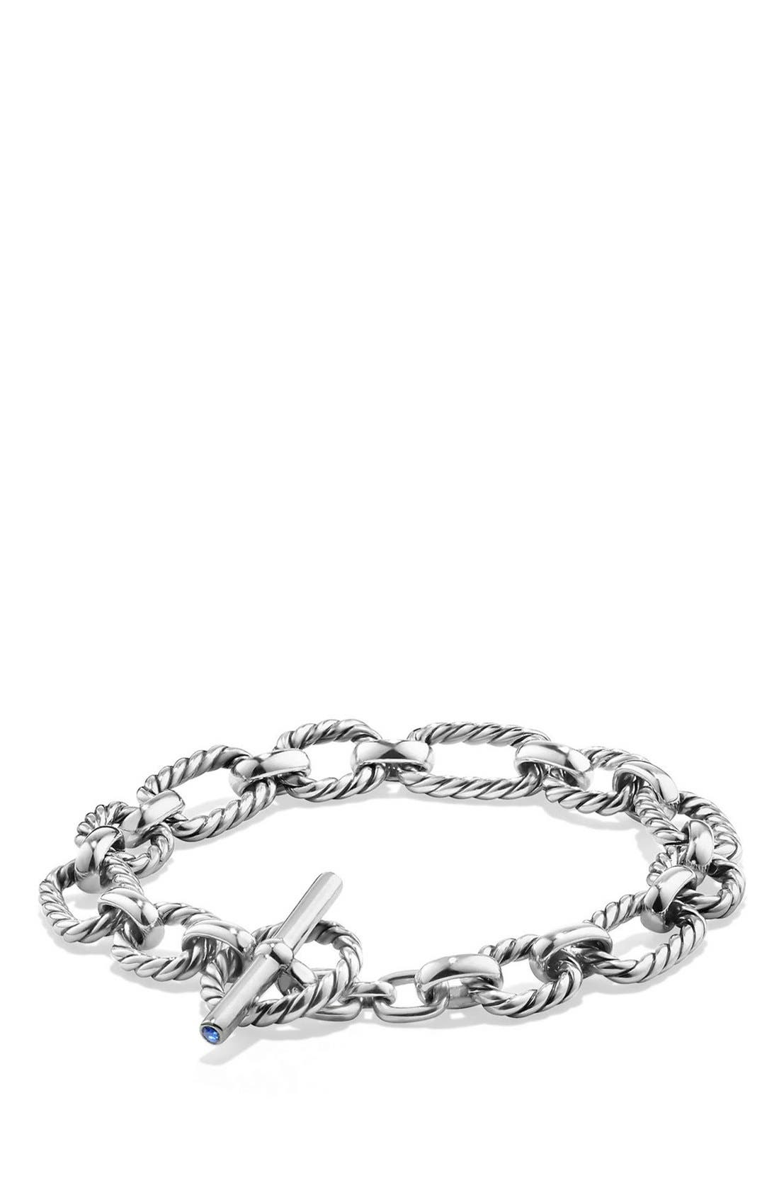 David Yurman Cushion Link Bracelet with Blue Sapphires