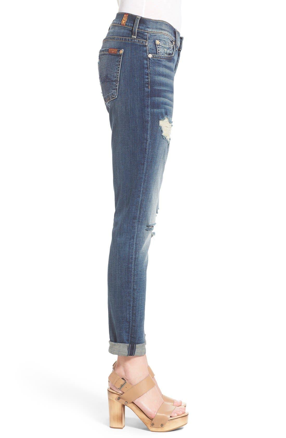 Alternate Image 3  - 7 For All Mankind® 'Josephina' Distressed Boyfriend Jeans (Crete Island)