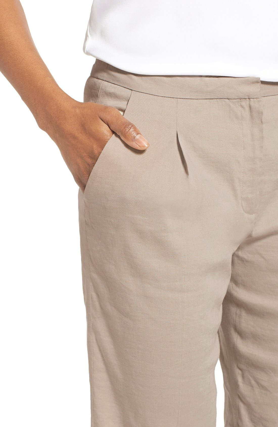 Alternate Image 4  - Elie Tahari 'City' Cuff Linen Blend Walking Shorts