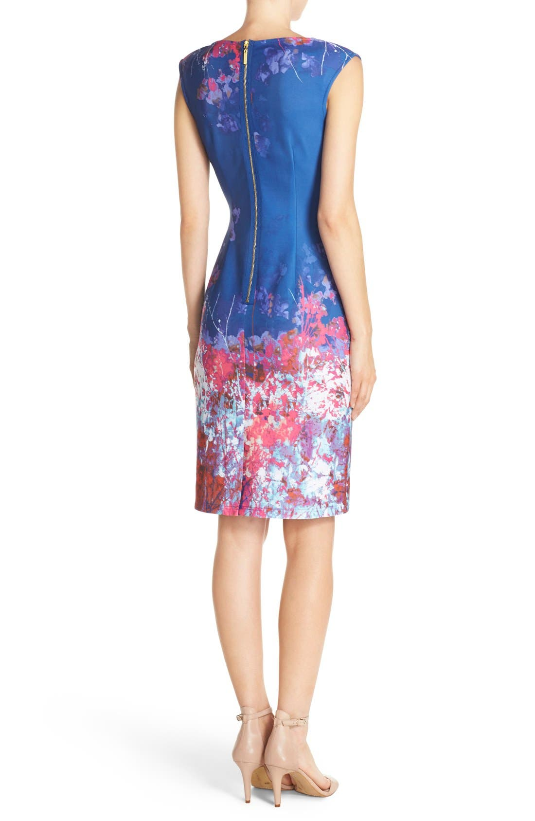 Alternate Image 2  - Adrianna Papell Floral Border Print Scuba Sheath Dress