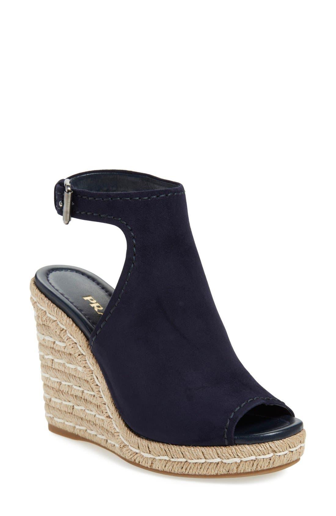 Prada Ankle Strap Espadrille Wedge Sandal (Women)