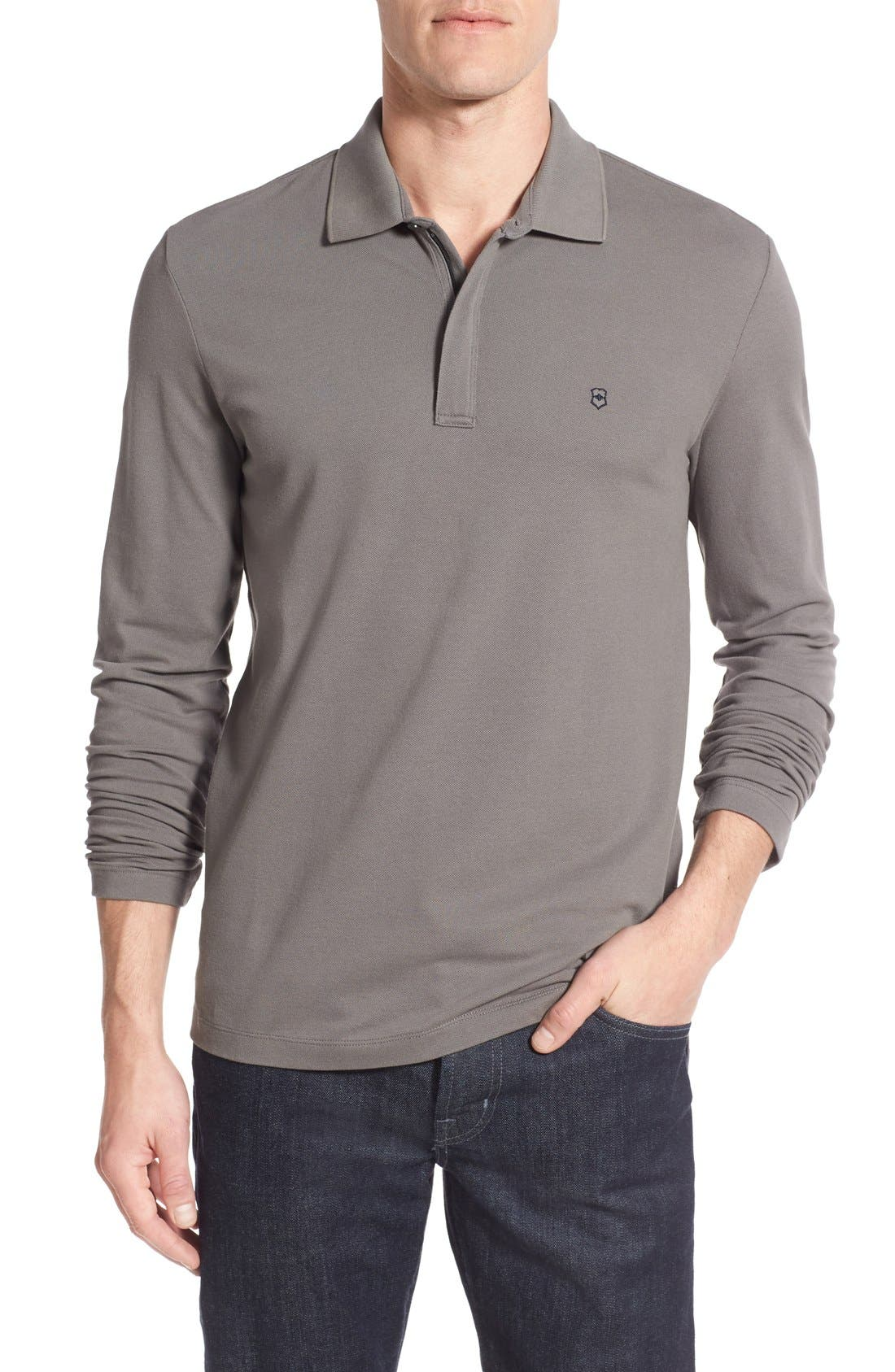 Victorinox Swiss Army® Tailored Fit Long Sleeve Zip Polo (Online Only)
