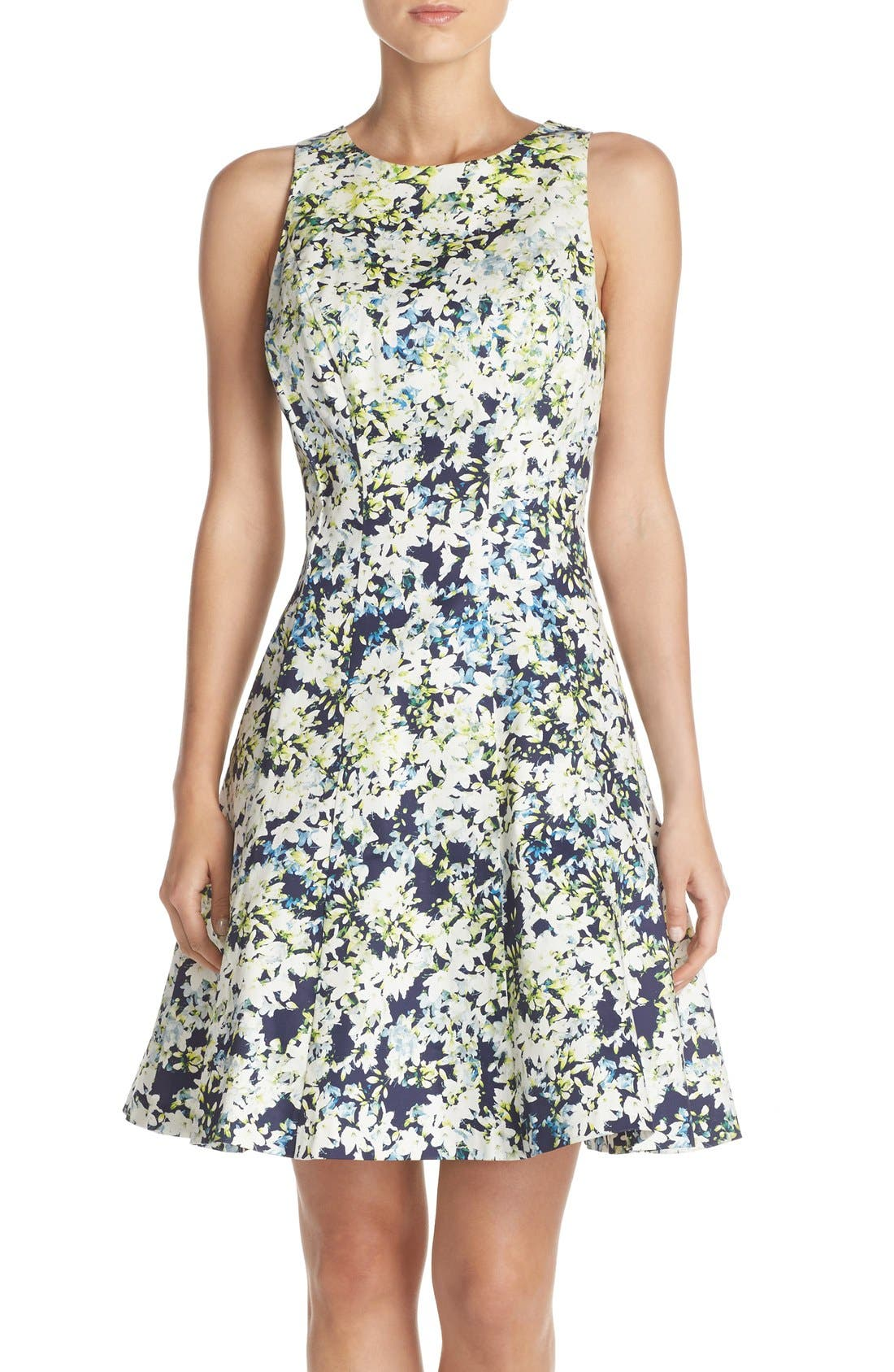 Main Image - Maggy London Embroidered Cotton Blend Fit & Flare Dress (Regular & Petite)