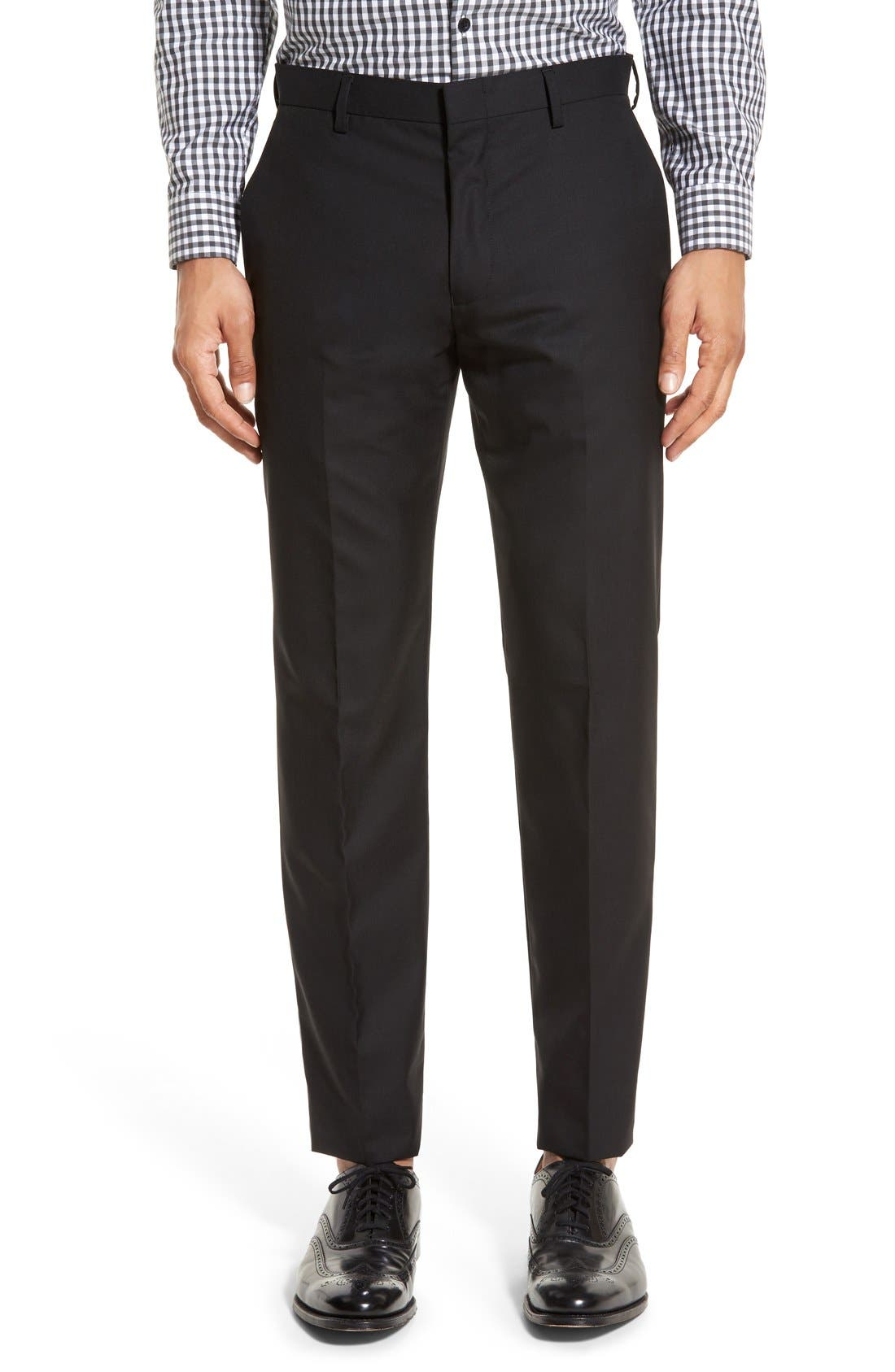 J.CREW Ludlow Flat Front Solid Wool Trousers