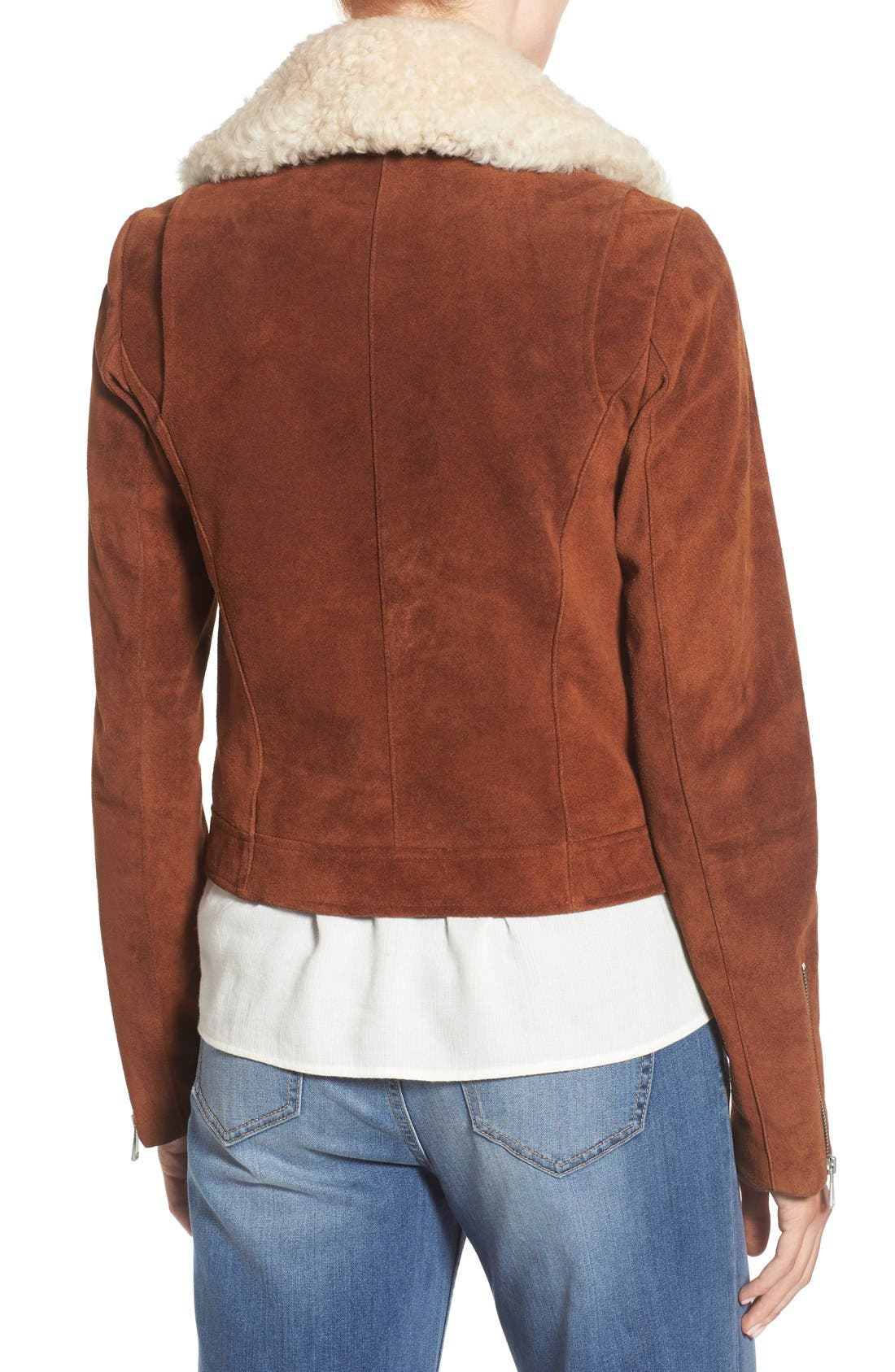 Alternate Image 2  - Andrew Marc Suede Jacket with Genuine Shearling Collar