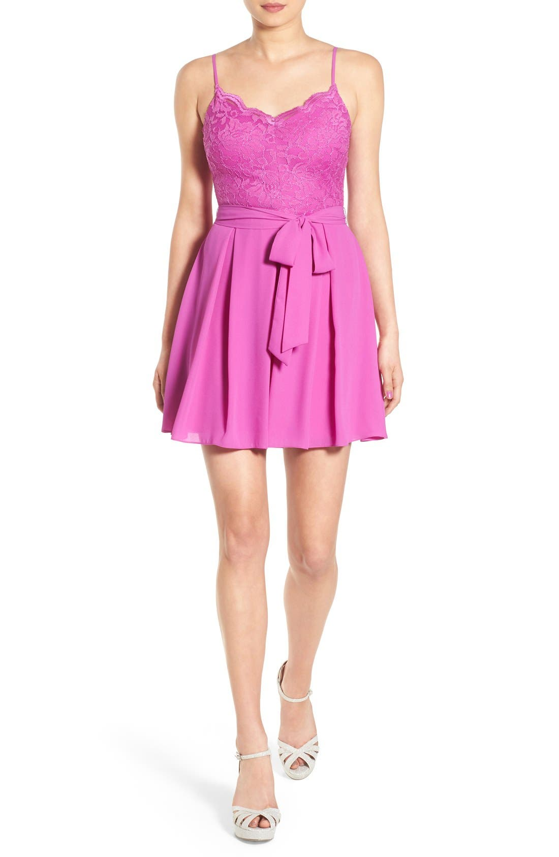 Main Image - Bee Darlin Lace Bodice Skater Dress