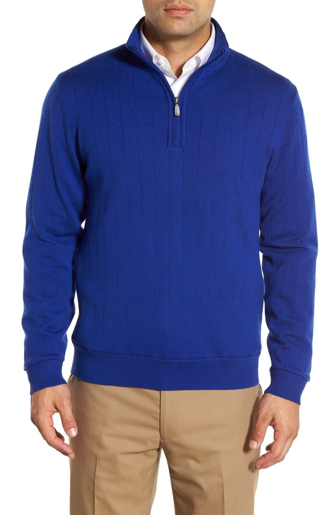 Alternate Image 1 Selected - Bobby Jones Windproof Merino Wool Quarter Zip Sweater