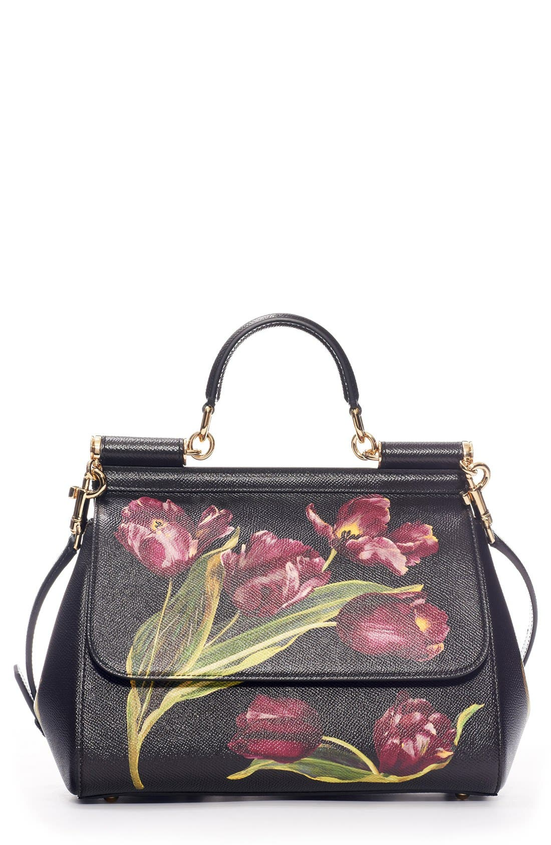 DOLCE&GABBANA 'Small Miss Sicily' Tulip Print Leather Satchel