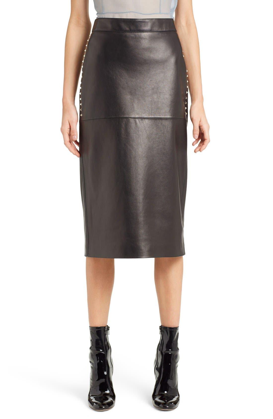 valentino studded lambskin leather skirt nordstrom