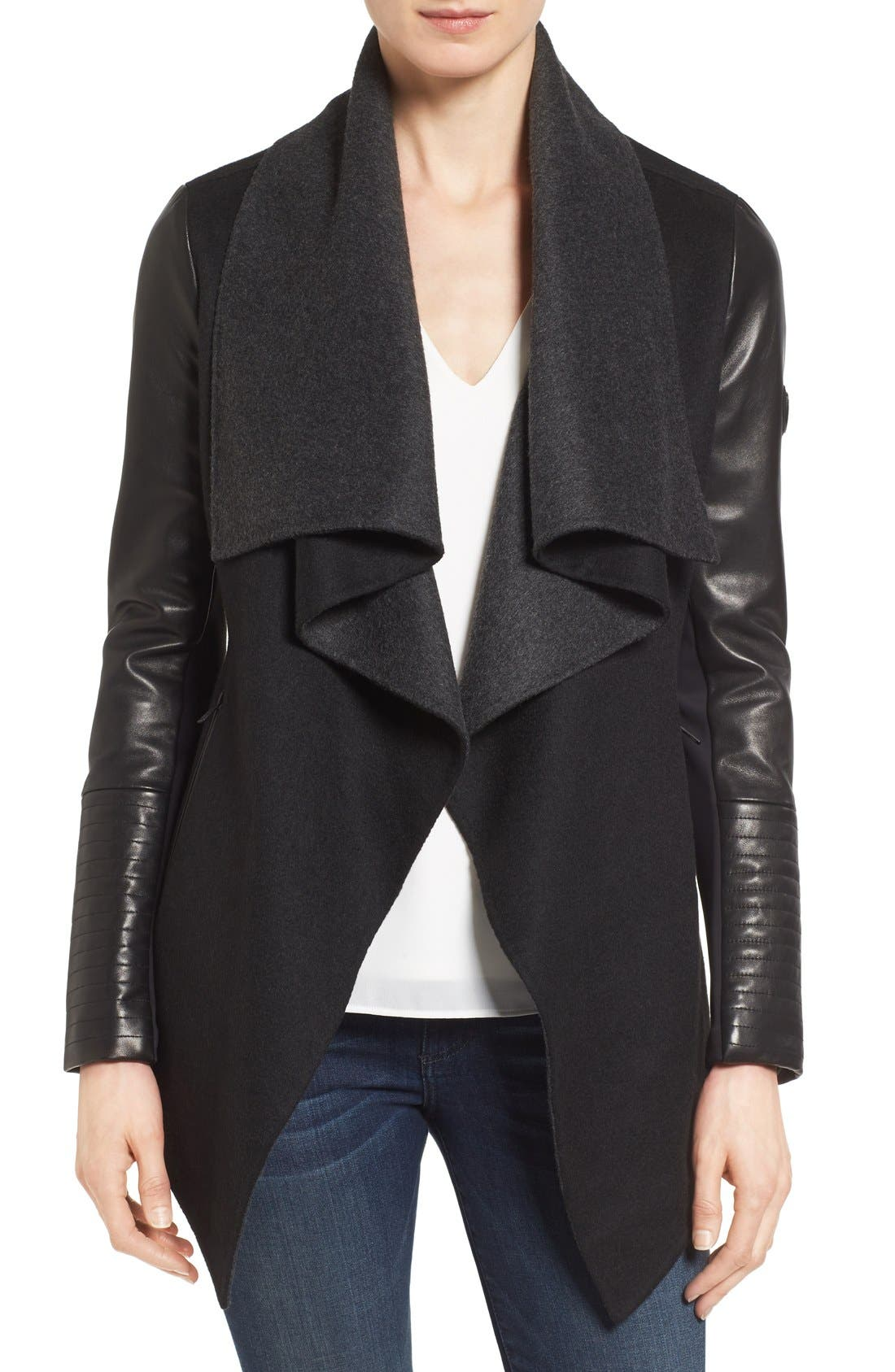 Main Image - Rudsak Drape Front Leather Sleeve Jacket