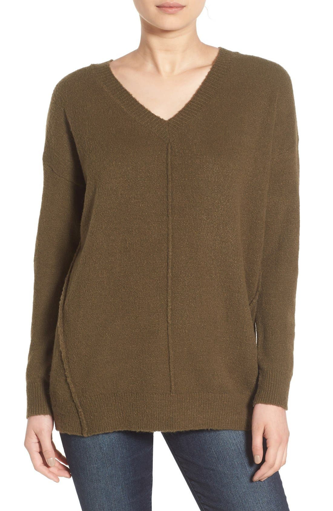 Main Image - Dreamers by Debut Seamed V-Neck Pullover