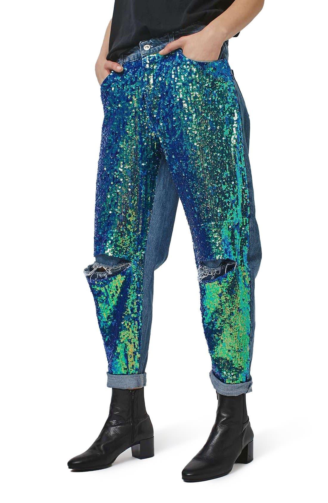 Alternate Image 1 Selected - Topshop Mermaid Sequin Boyfriend Jeans