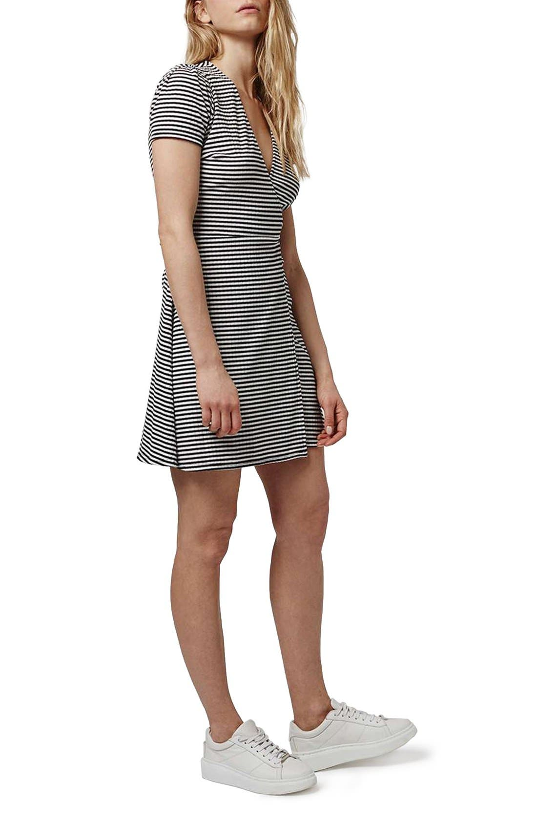 Alternate Image 1 Selected - Topshop Stripe Wrap Skater Dress