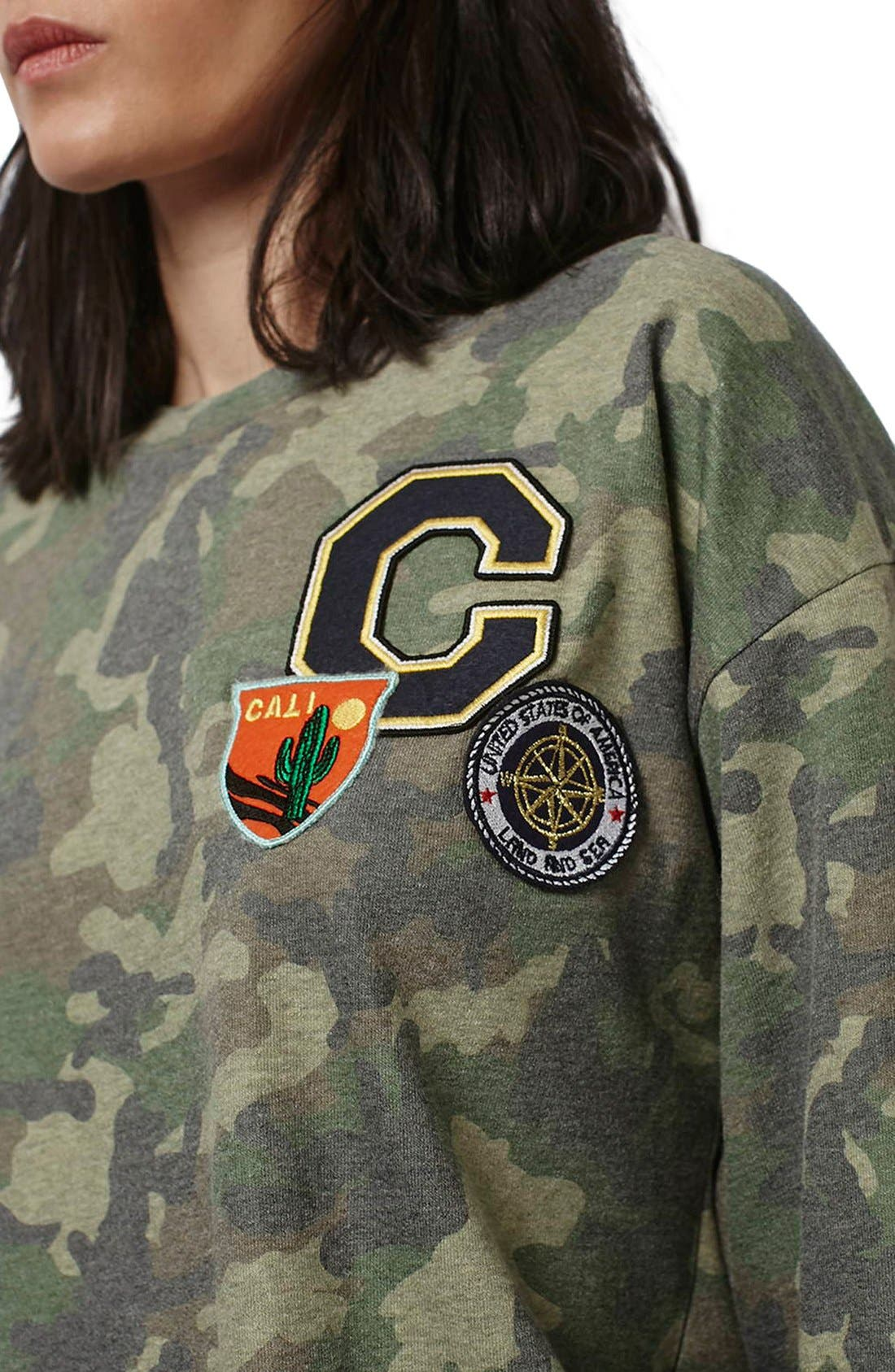 Alternate Image 5  - Topshop Camo Print Patch Sweatshirt