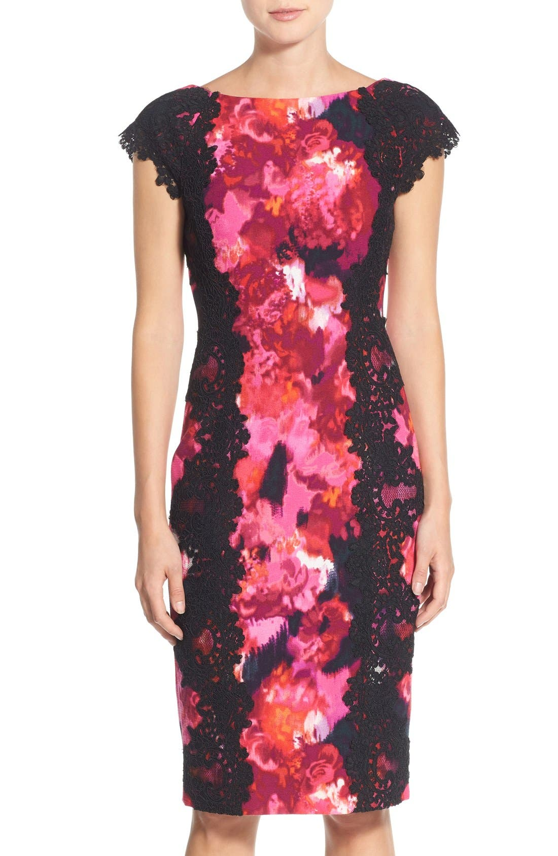 Alternate Image 1 Selected - Maggy London Lace & Crepe Sheath Dress (Regular & Petite) (Nordstrom Exclusive)