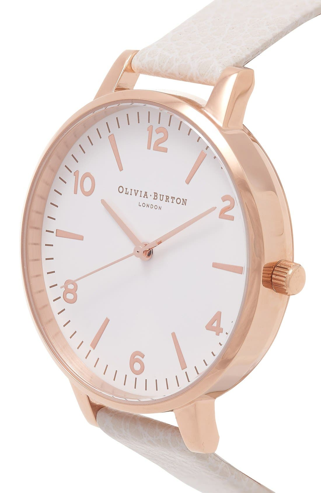 Alternate Image 2  - Olivia Burton 'Modern Vintage' Leather Strap Watch, 38mm
