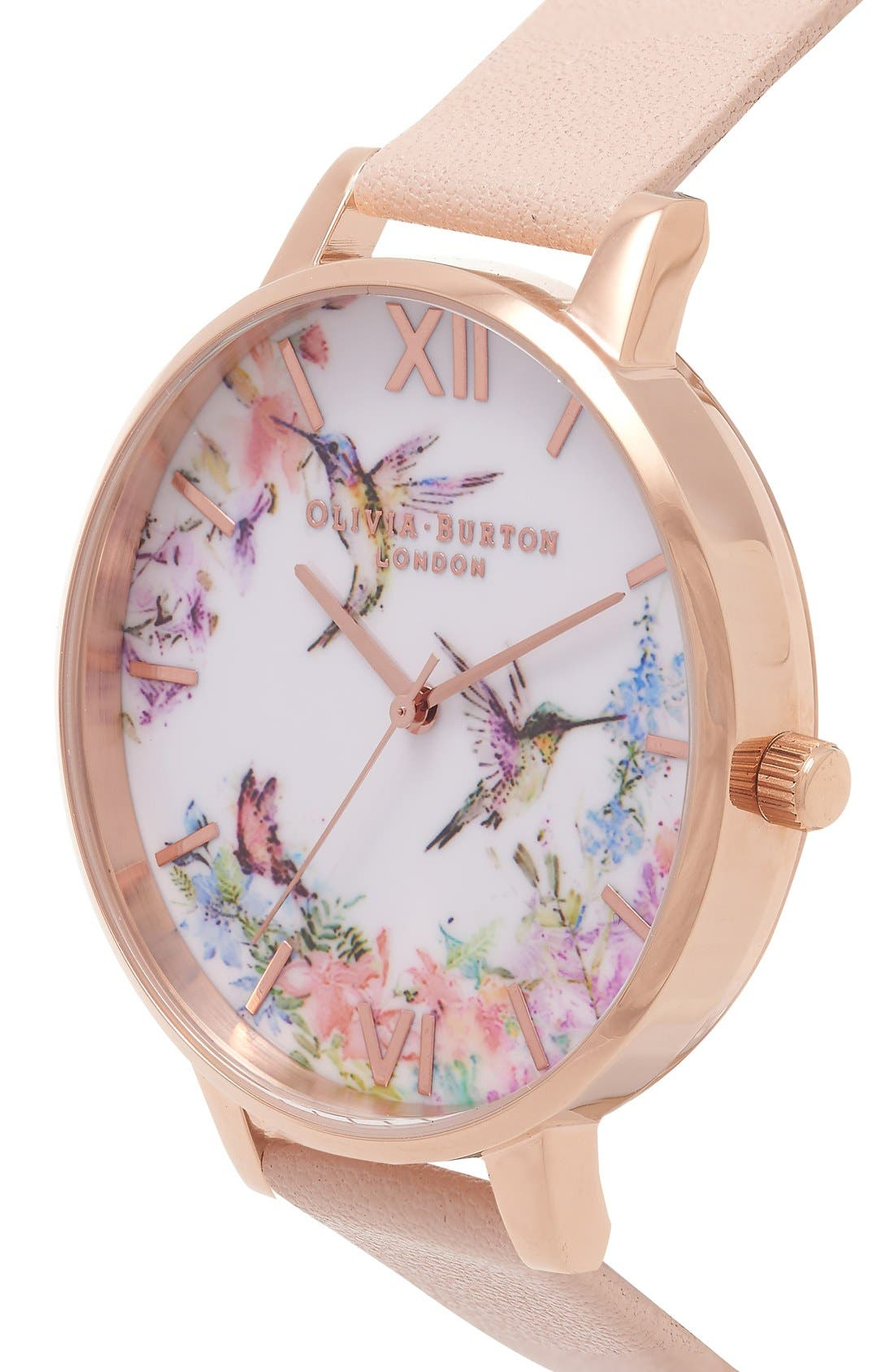 Alternate Image 2  - Olivia Burton 'Painterly Prints' Leather Strap Watch, 38mm