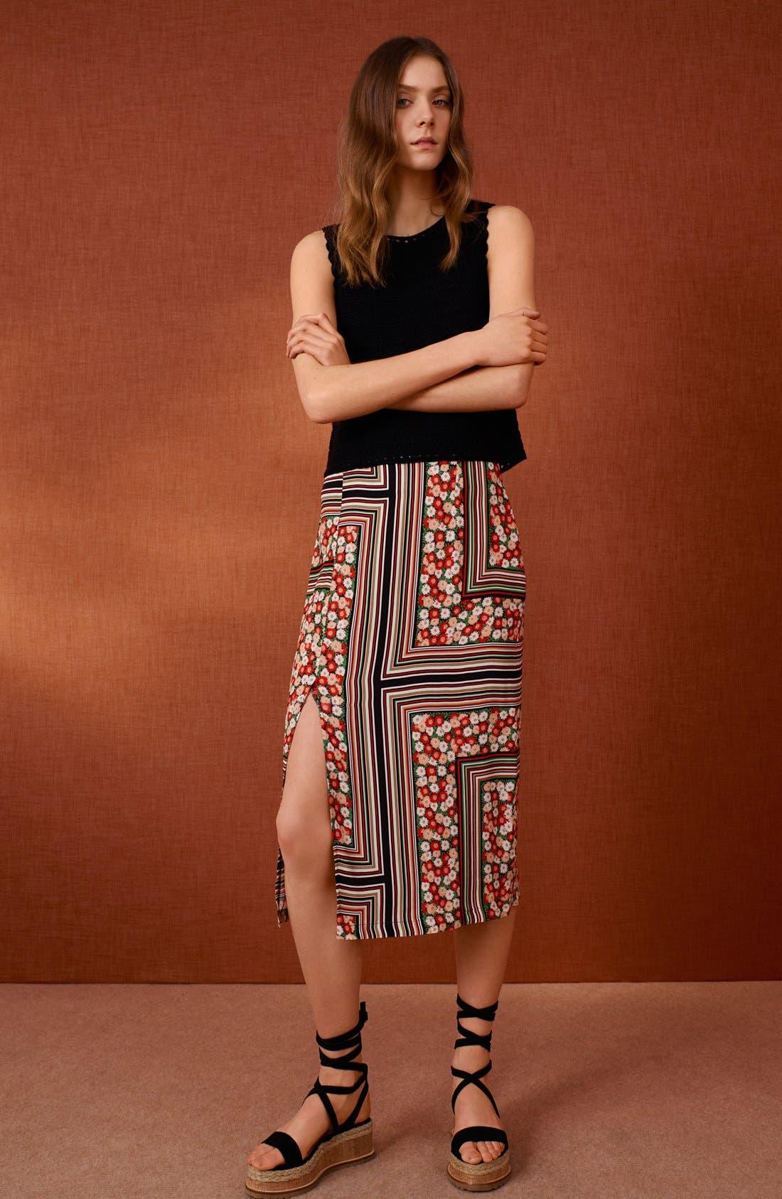 Alternate Image 6  - Topshop Floral Stripe Midi Skirt