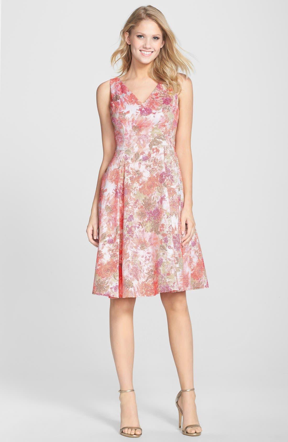 Alternate Image 3  - Adrianna Papell Jacquard V-Neck Fit & Flare Dress