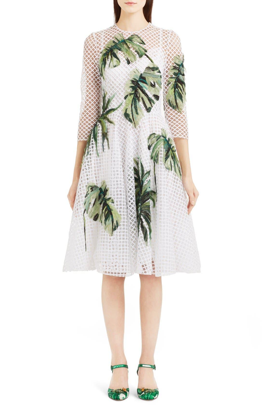 Alternate Image 1 Selected - Dolce&Gabbana Banana Leaf Embellished Mesh Lace Dress