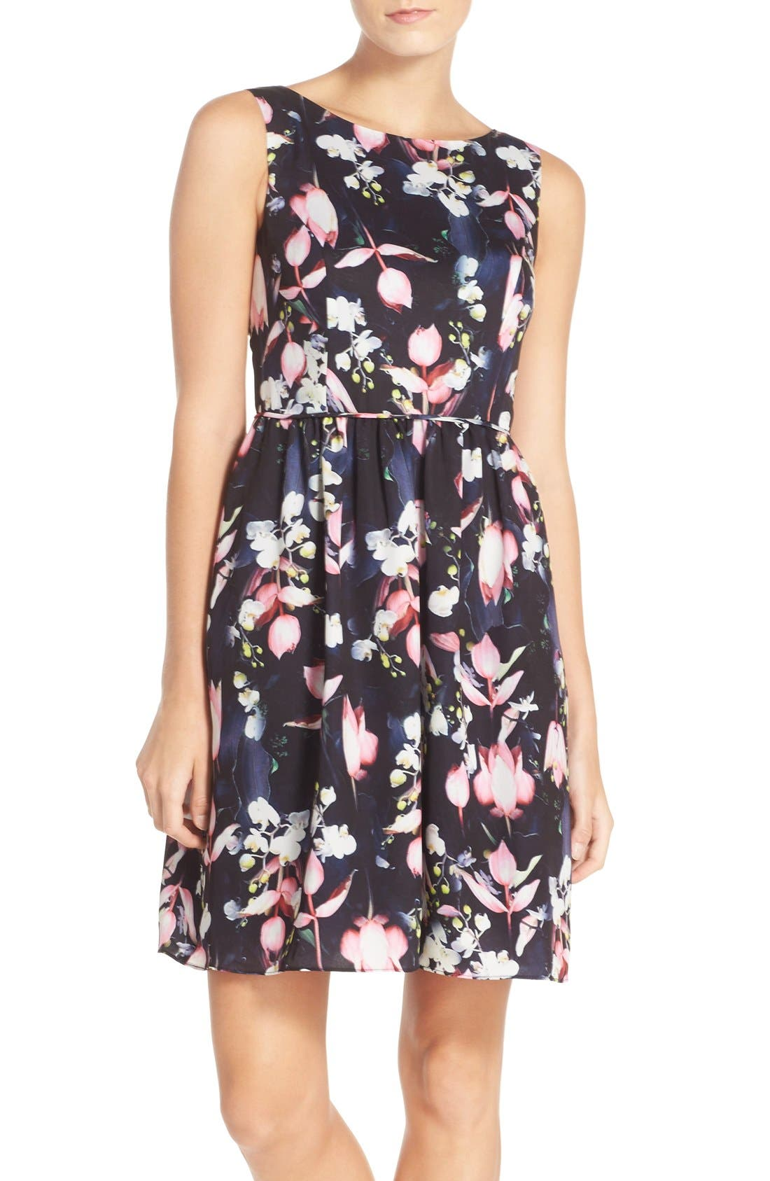 ADRIANNA PAPELL Floral Print Fit & Flare Dress
