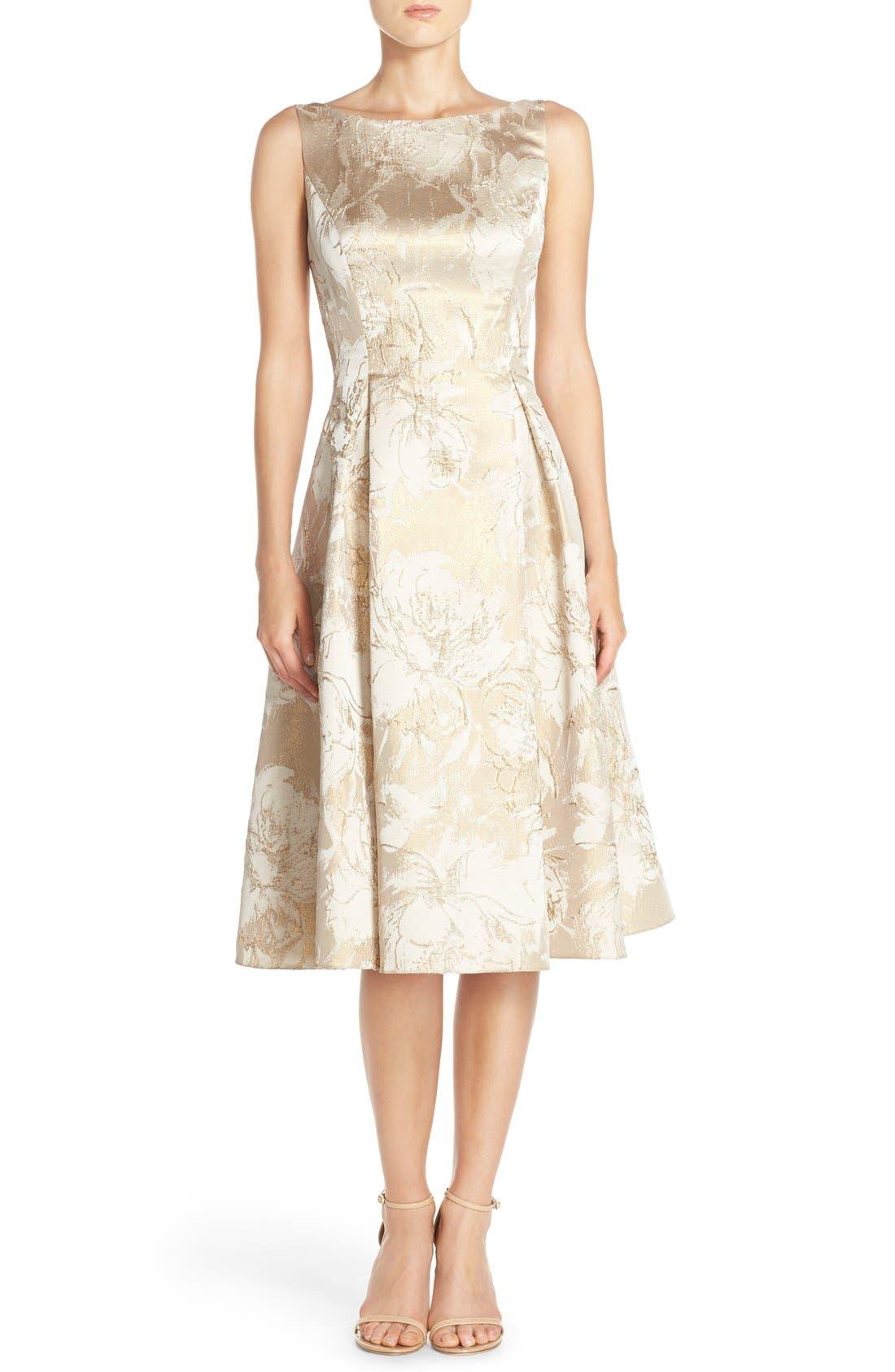 Main Image - Aidan Mattox Floral Metallic Jacquard Fit & Flare Dress