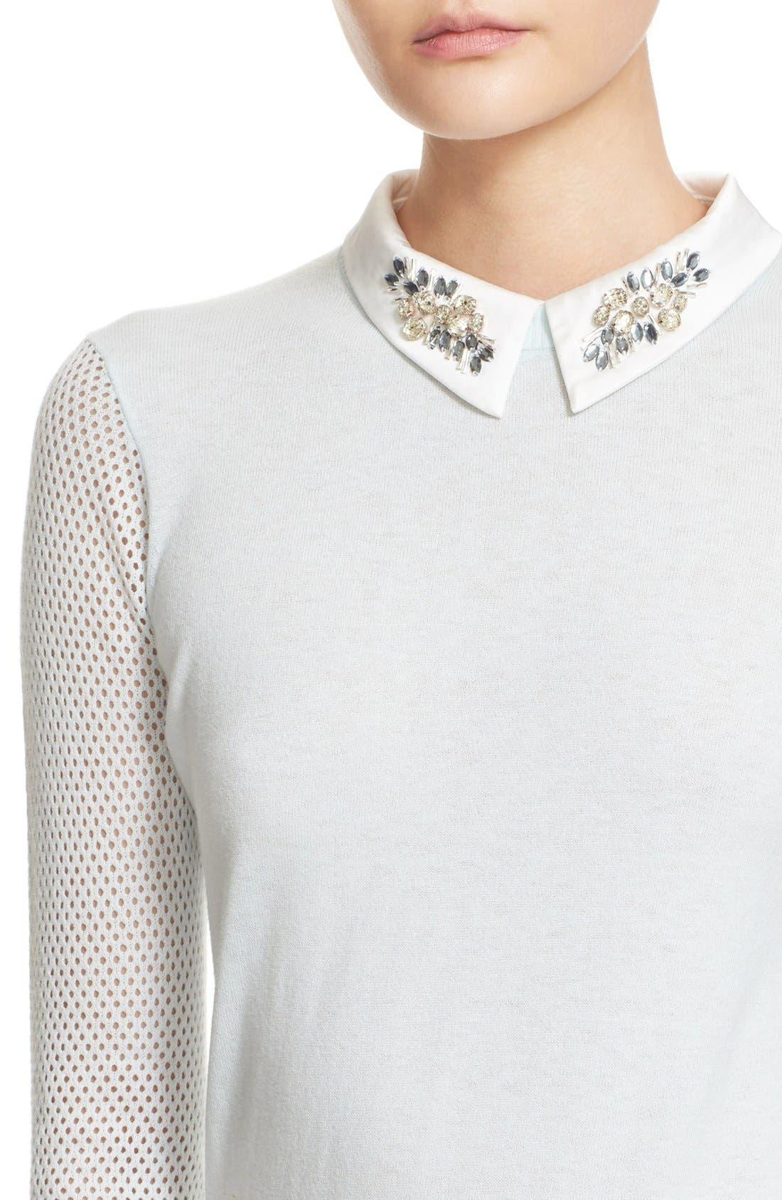 Alternate Image 4  - Ted Baker London Embellished Collar Mesh Sleeve Sweater