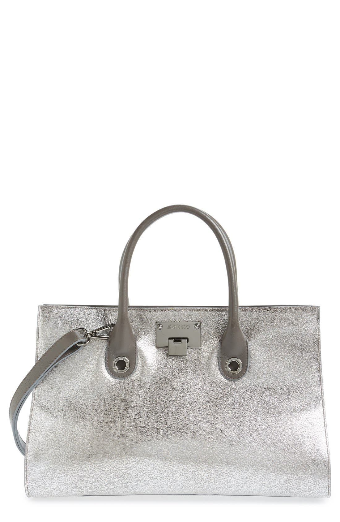 JIMMY CHOO 'Riley' Metallic Goatskin Leather Tote