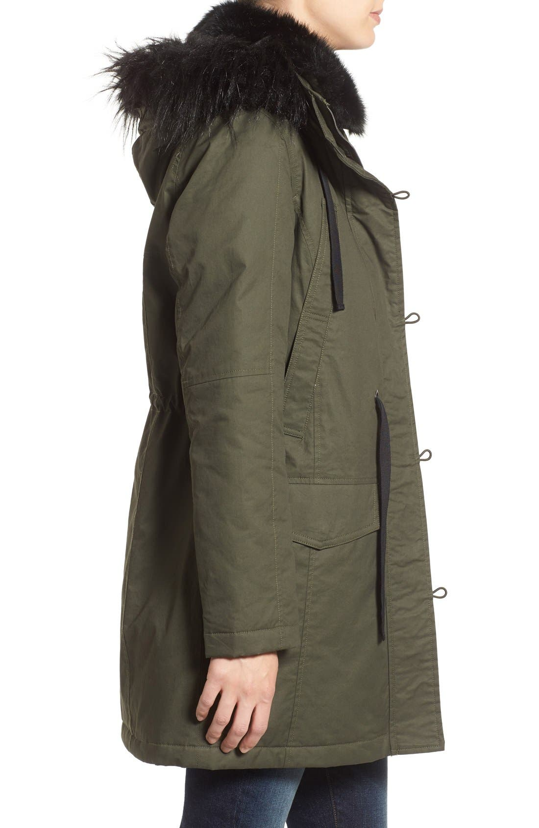 Alternate Image 3  - French Connection Hooded Parka With Faux Fur Trim