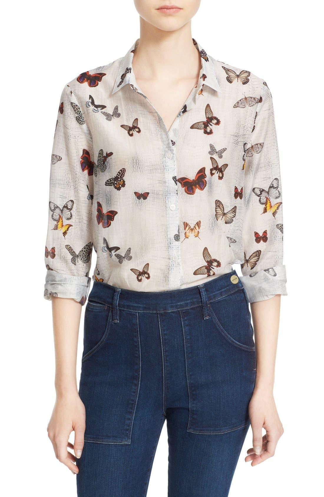 Main Image - The Kooples Butterfly Print Cotton & Silk Shirt