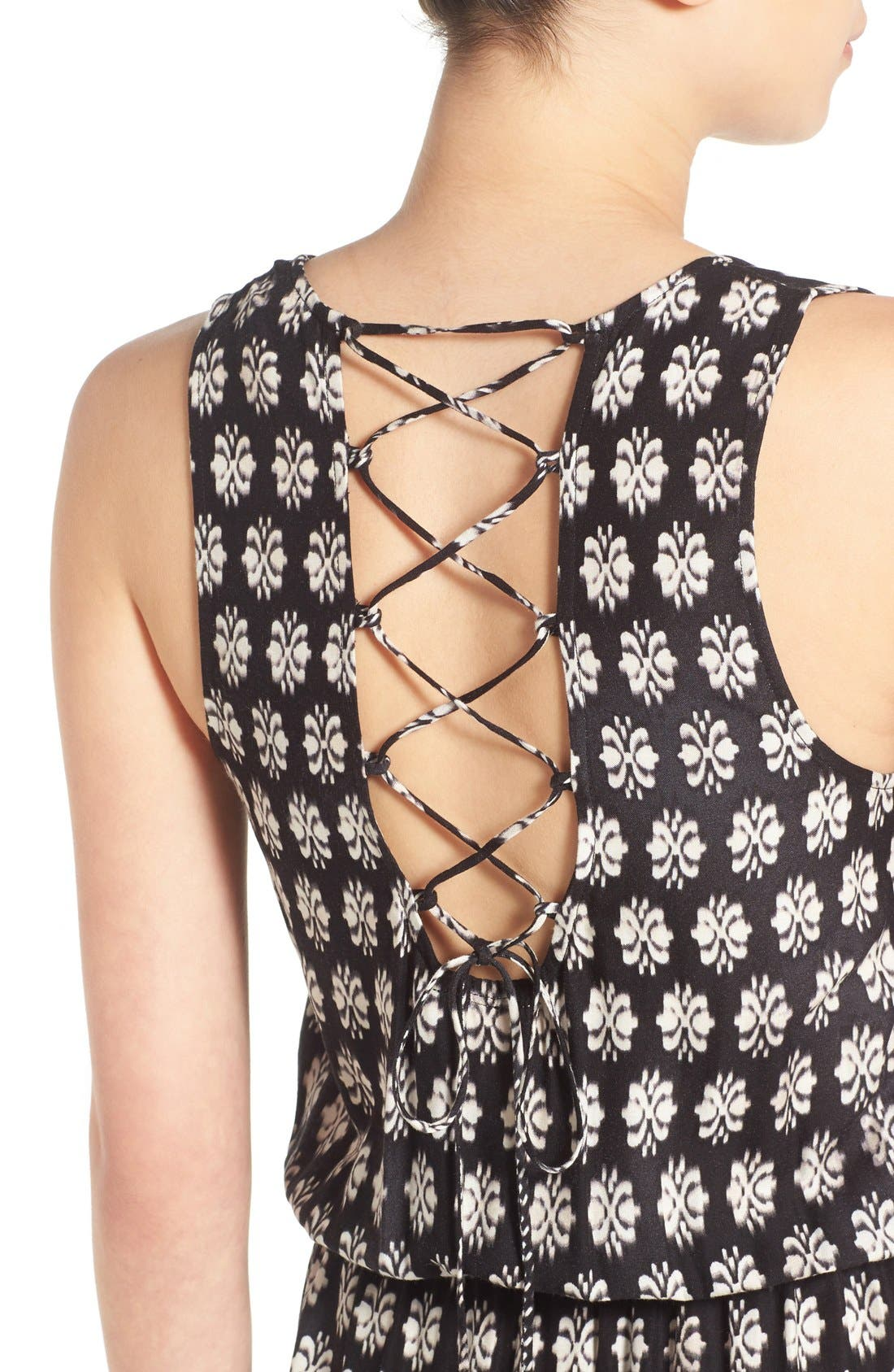 Alternate Image 4  - Mimi Chica Print Lace Up Maxi Dress